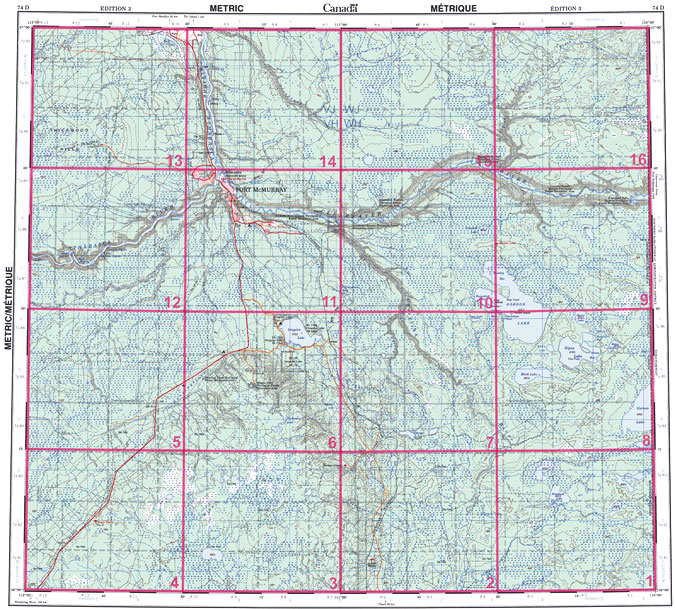 Fort McMurray (AB) Canada  city pictures gallery : ... canadian topographic maps alberta 074d fort mcmurray 074d fort